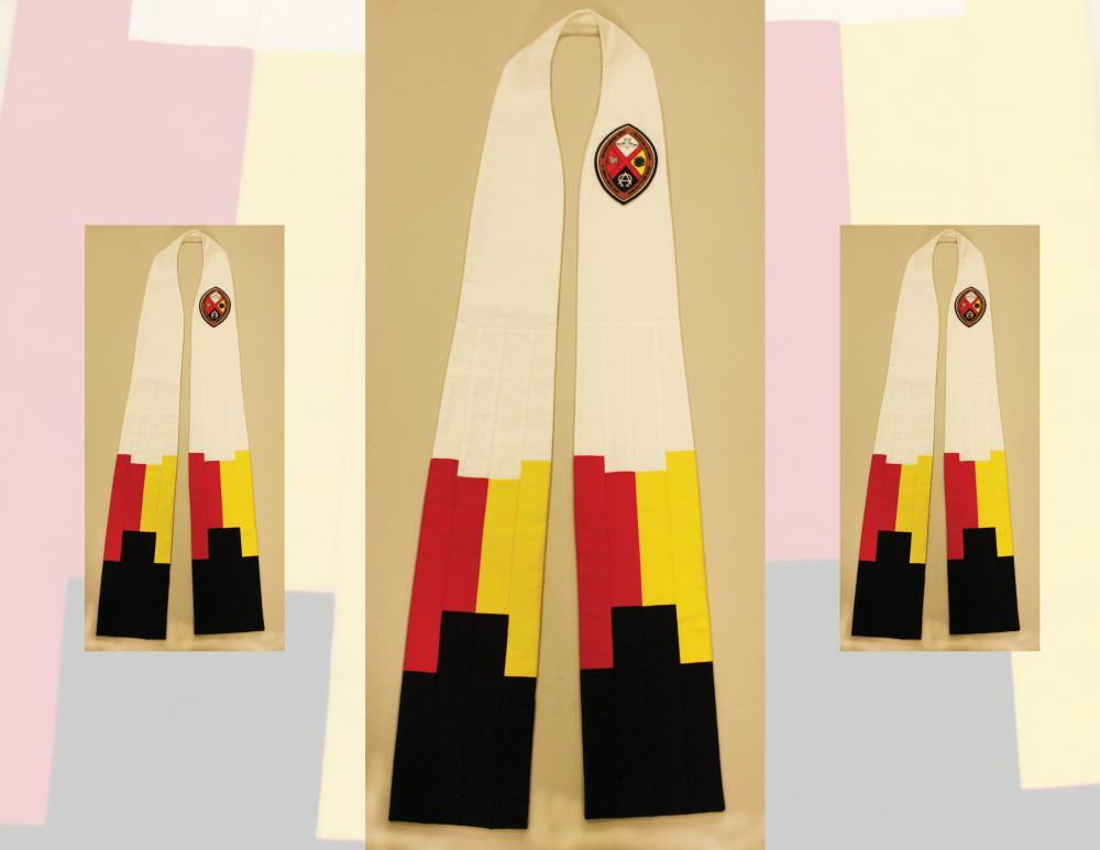 Moderator's stole, with four colours of the Medicine Wheel and United Church crest