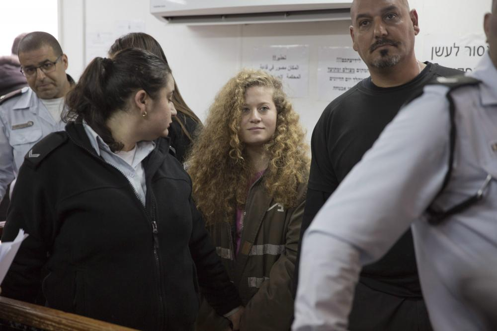 Ahed Tamimi in a courtroom at the Ofer military prison near Jerusalem, Feb. 13, 2018.